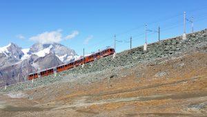 Gornergrat Bahn-trein naar bergstation